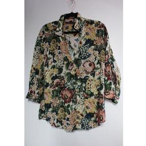ZARA ~ Floral blouse (XL)